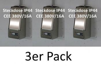 3x LOCK-EE, der abschliessbare Steckdosenkasten CEE 380V/16A IP44 ROT