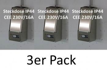3x LOCK-EE, der abschliessbare Steckdosenkasten CEE 230V/16A IP44 BLAU