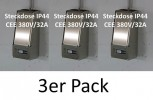 3x LOCK-EE, der abschliessbare Steckdosenkasten CEE 380V/32A IP44 ROT